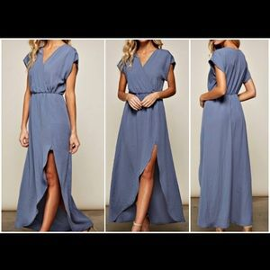 NWOT Blue Maxi With Slit size Medium
